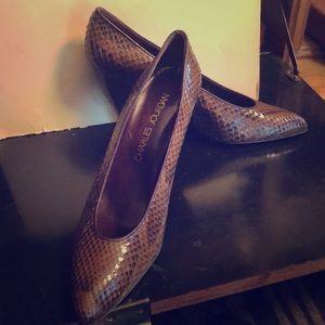 Charles Jourdan  brown snakeskin heels shoes sz 10